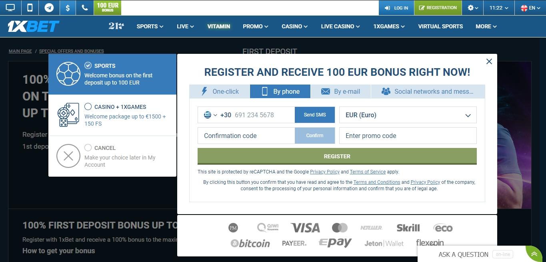 Register on the 1xBet Platform